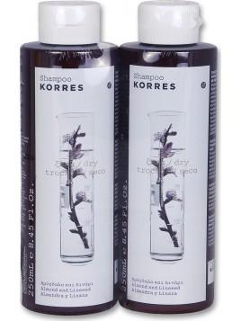 Korres Σαμπουάν για Ξηρά/Αφυδατωμένα Μαλλιά με Αμύγδαλο & Λινάρι 2x250ml