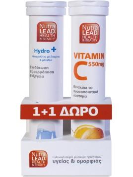 NutraLead Hydro+ Ηλεκτρολύτες + Vitamin C 550mg Πορτοκάλι 20+ 20αναβράζοντα δισκία