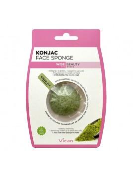 Vican Konjac Face Sponge Σφουγγάρι Προσώπου με Σκόνη Πράσινου Τσαγιού 1 Τμχ.