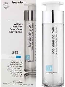Frezyderm Long Lasting Hydrating Moisturizing 24H Face 20+ Light Cream 50ml