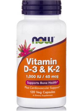 Now Foods Vitamin D-3 & K-2 120 φυτικές κάψουλες