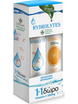 Power Health Hydrolytes Stevia & Vitamin C 500mg 20 + 20 αναβράζοντα δισκία